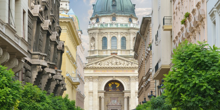 Zrinyi Utca street and Saint Stephen`s Basilica in Budapest. Hungary.